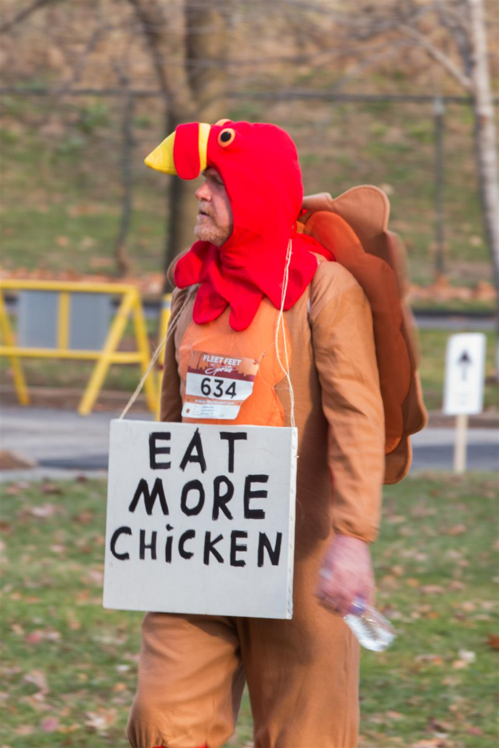 Participant Wearing Eat More Chicken Costume